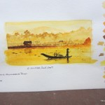 watercolour painting of a small boat