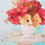 watercolour painting of flowers in a vase
