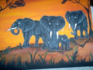 close up of elephant folk art painting