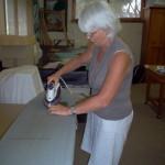 patchwork student ironing fabric