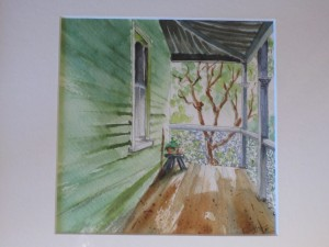watercolour painting of a verandah and house